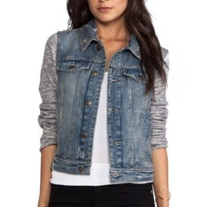 Free People Jean Jacket With Knit Sleeves …